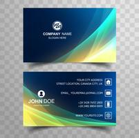 Creative and clean corporate business card template with wave de