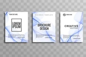 Ensemble de brochure d'affaires vague bleu abstrait