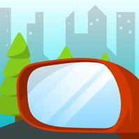Flat Left Rear View Mirror Of Car with City Skyline Background Vector Illustration