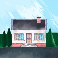 House Exterior Closeup Isolated On Background Illustration