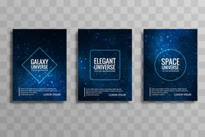 Abstract blue galaxy universe vector brochure cards set vector