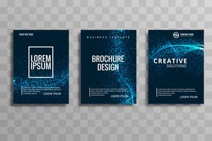 Abstract stylish glitter wave business brochure set vector desig