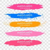 Hand draw colorful watercolor strokes set design