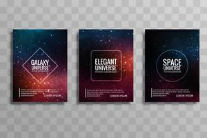 Abstract galaxy universe vector brochure cards set design