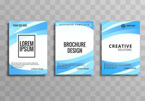 Abstract  blue wavy business brochure set