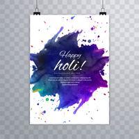 Holi broschyr färgstark mall för Holi firande backgrou