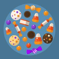 Flat Halloween Candy Collection Vector Illustration
