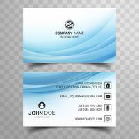 Diseño de tarjeta de visita ondulado azul abstracto