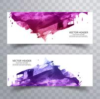 Beautiful abstract paint brush colorful watercolor header set ve vector