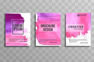 Gabarit de set aquarelle brochure vector abstraite. Disposition des prospectus d