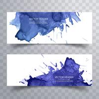 Beautiful watercolor colorful banners set design