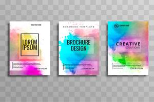 Modern colorful watercolor business brochure set of cards vector