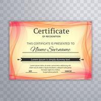 Fondo colorido hermoso de la plantilla del certificado de la onda