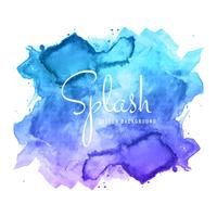vecteur de conception splash aquarelle bleu abstrait dessinés à la main