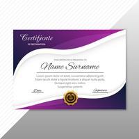 Modelo de diploma certificado elegante abstrato com design de onda