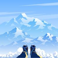 Ice Mountain Landscape First Person Vector