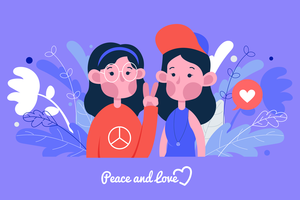 Peace and Love Vector