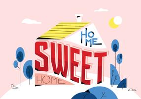 Accueil Sweet Home Typographie Affiche Vector Illustration Plate