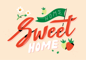 Nette Erdbeere mit lettering Home Sweet Home-Vektor-flacher Illustration