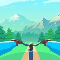 Downhill Mountain Landscape Första Person Vector