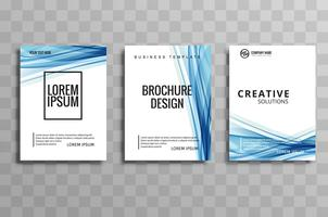 Abstract blue business wave brochure flyer illustration design