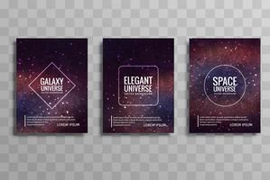 Abstract galaxy colorful business brochure set