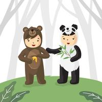 Kids In Bear Costume Vector