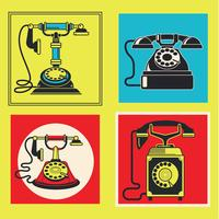 Set of Retro Telephones Illustration with Vintage Candlestick and Rotary Dial Phones