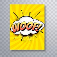 Pop art colorful comic book woof brochure template design