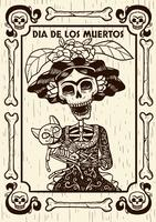 Day Of The Dead Skull With Cat Illustration