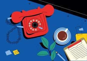 Red Vintage Rotary Telephone On Desk Vector Flat Illustration