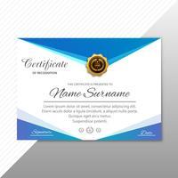 Elegante elegante modello di certificato certificato con onda design ve