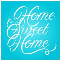 Flat Home Sweet Home Lettering Art Vector Illustration