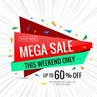 Mega sale banner poster design template illustration
