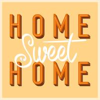 Flat Home Sweet Home Lettering Art med Retro Style Vector Illustration
