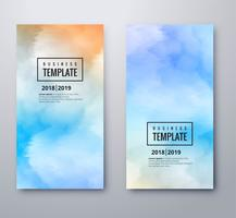 Abstract colorful watercolor banners set template design