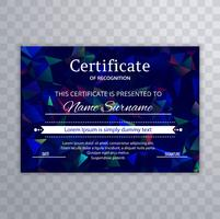 Certificate template with colorful polygon design