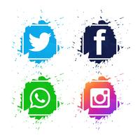 Beautiful social media icons set design vector