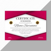 Ilustração em vetor colorido certificado diploma modelo