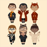 Vector Illustration of Kids in Costumes