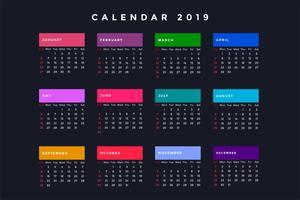 calendário escuro do ano novo para 2019