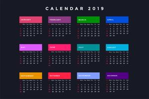 dark new year calendar for 2019