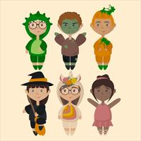 Illustration vectorielle des enfants en costumes
