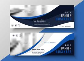 blue wavy business banner template