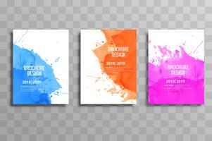 Abstract colorful business brochure template set watercolor desi