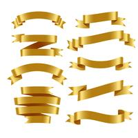 3d realistic golden ribbons set