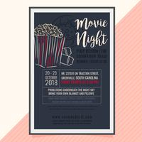 Cartaz de noite de filme de vetor