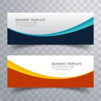 Elegant colorful wavy header set  design vector