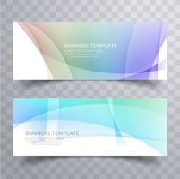 Modern colorful wavy banners set design vector