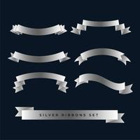 silver shiny 3d ribbons set